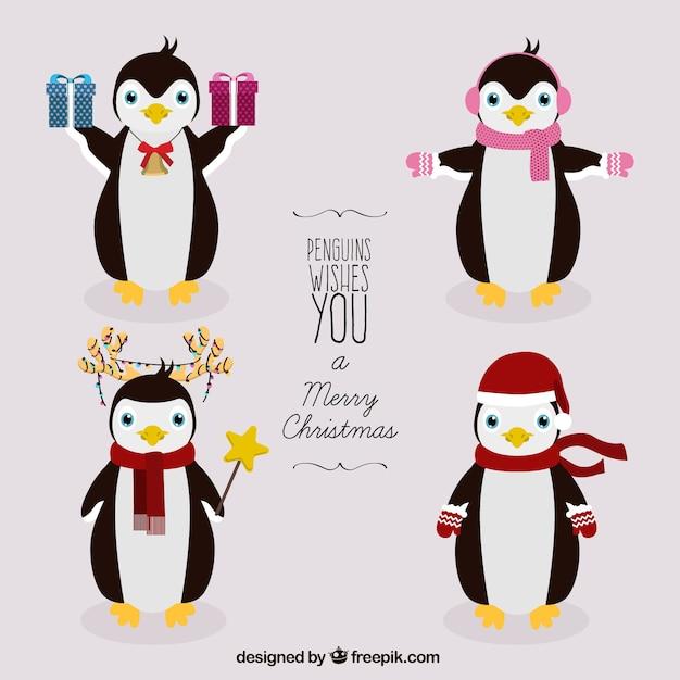 Pingüinos de navidad | Descargar Vectores gratis