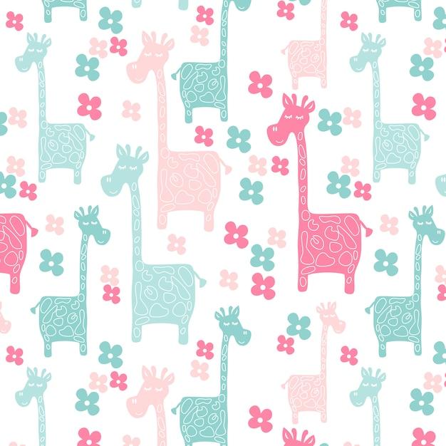 Pink jirafas de patrones sin fisuras   Descargar Vectores Premium
