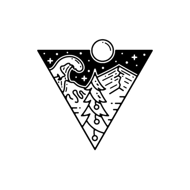 Pino árbol de navidad en la naturaleza dibujo tatuaje Vector Premium