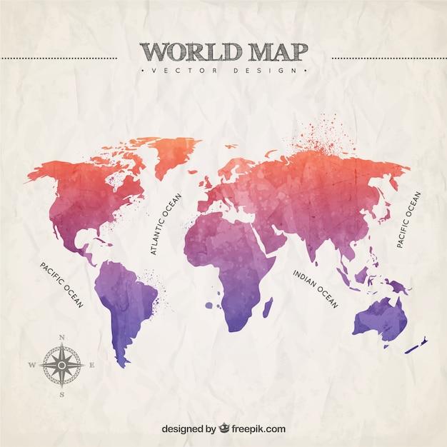 Pintado a mano mapa del mundo descargar vectores premium - Papel pintado mapa del mundo ...