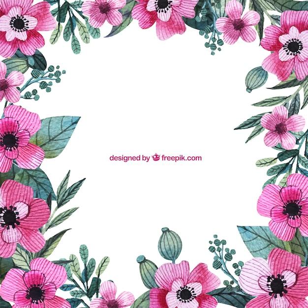 Pintado a mano marco flores de color rosa | Descargar Vectores gratis