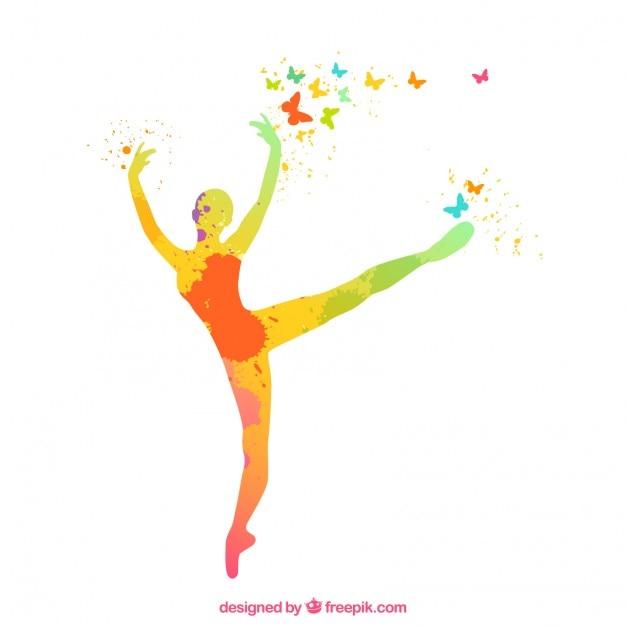 Pintado a mano silueta de la bailarina  Descargar