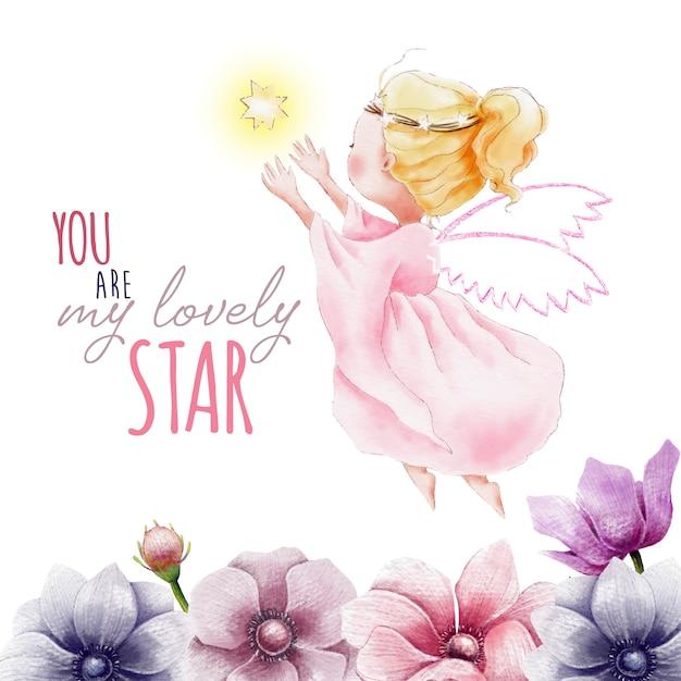Pintado a mano acuarela ángel con estrella y flores Vector Premium