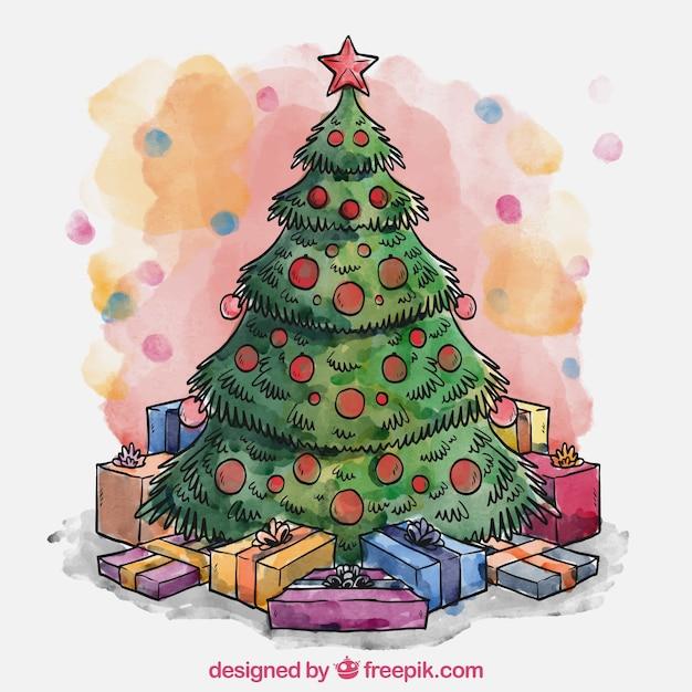 Dibujos De Arboles De Navidad Pintados.Pintado A Mano Arbol De Navidad Y Regalos Descargar