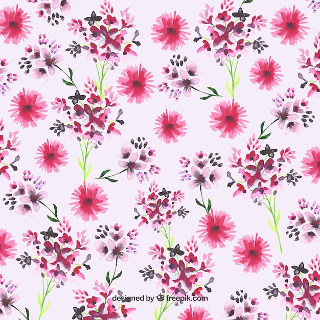 Pintado A Mano Fondo De Flores De Color Rosa Descargar Vectores Gratis