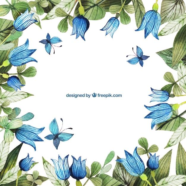 Pintado A Mano Marco Flores Azules Descargar Vectores Gratis