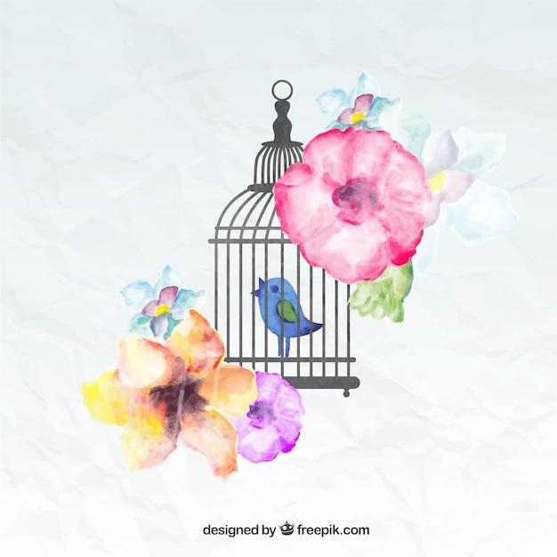 Pintado a mano pájaro en una jaula vector gratuito