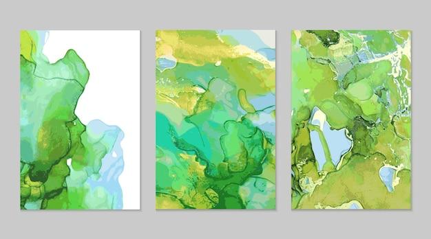 Pintura abstracta de mármol azul verde dorado en técnica de tinta de alcohol Vector Premium