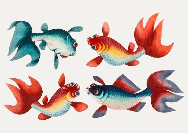 Pintura china con dos peces de oro y dos de plata. vector gratuito