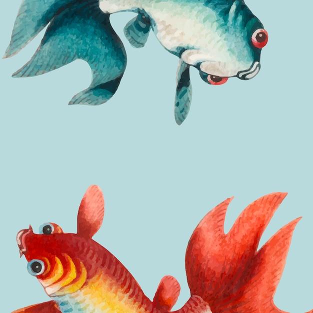 Pintura china con un pez dorado y plateado. vector gratuito