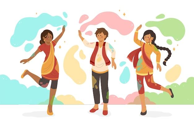 Pintura colorida y gente celebrando el evento holi vector gratuito