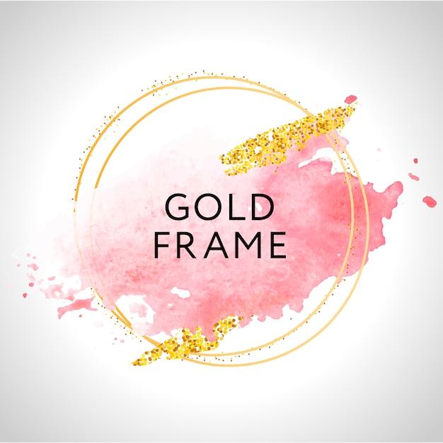 Pintura de marco dorado pincelada a mano. perfecto para titular, logotipo y banner de venta. acuarela Vector Premium