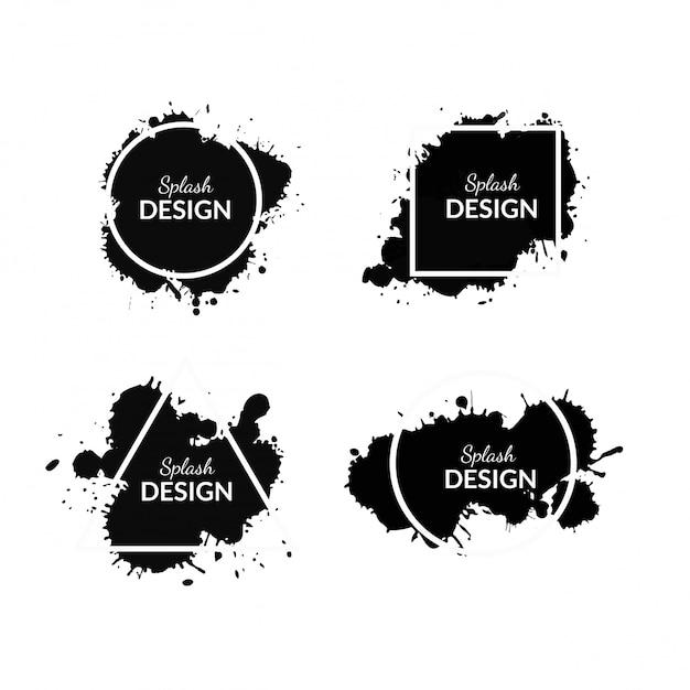 Pintura splash negra con formas geométricas. vector gratuito