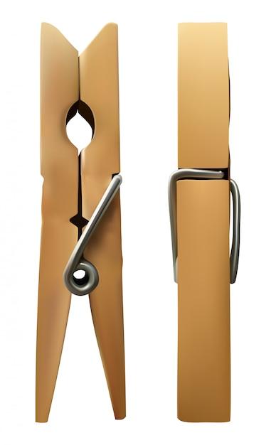 Pinza de madera en blanco aislado Vector Premium