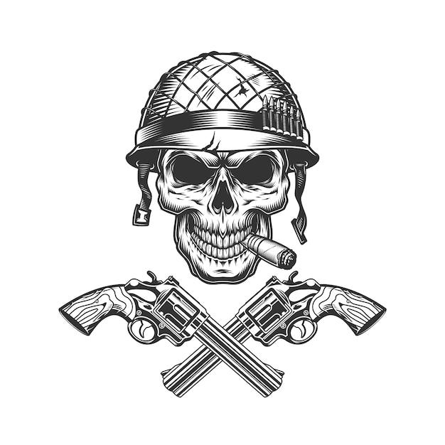 Pipa de fumar vintage cráneo soldado monocromo vector gratuito
