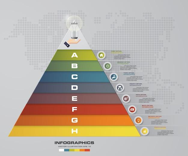 Pirámide de 8 pasos con espacio libre para texto en cada nivel. Vector Premium