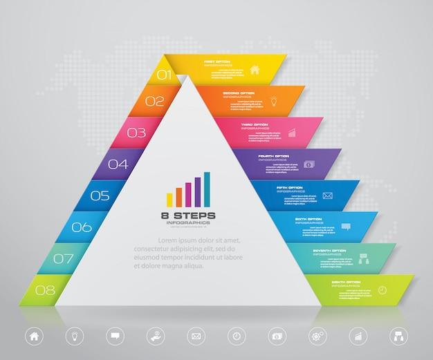 Pirámide con espacio libre para texto en cada nivel. Vector Premium