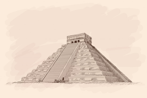 Pirámide de piedra azteca con pasos. dibujo a lápiz sobre fondo beige. Vector Premium