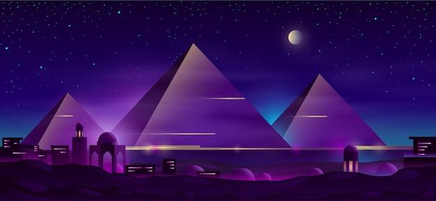 Pirámides egipcias dibujos animados paisaje nocturno vector gratuito