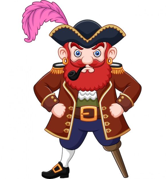 Pirata de dibujos animados con una pipa de fumar Vector Premium