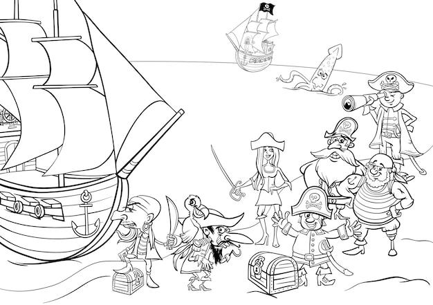 Piratas Con Barco Para Colorear Vector Premium