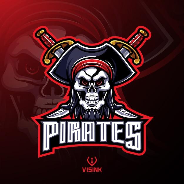 Piratas calavera mascota logo diseño Vector Premium