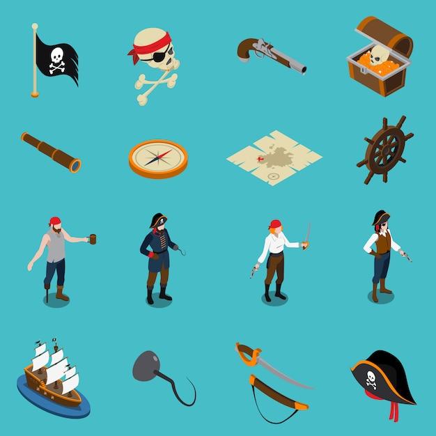 Piratas iconos isométricos vector gratuito