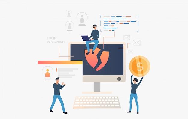 Los piratas informáticos roban datos personales y dinero vector gratuito