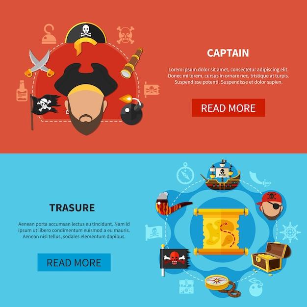 Pirate treasure cartoon banners vector gratuito