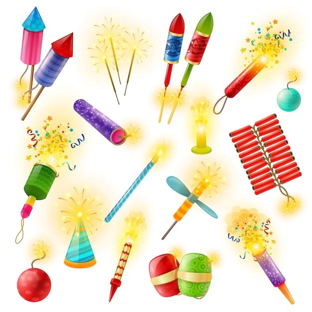 Pirotecnia fuegos artificiales cracker sparkler colorido conjunto vector gratuito