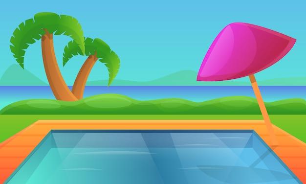 Piscina de dibujos animados junto al mar en un país tropical, ilustración vectorial Vector Premium