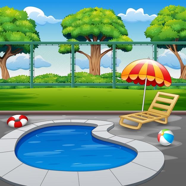 Piscina pequeña al aire libre con tumbona y juguetes Vector Premium