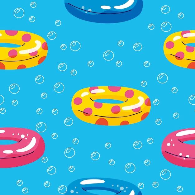 Piscina de verano flotante con círculo inflable. patrón de vector inconsútil Vector Premium