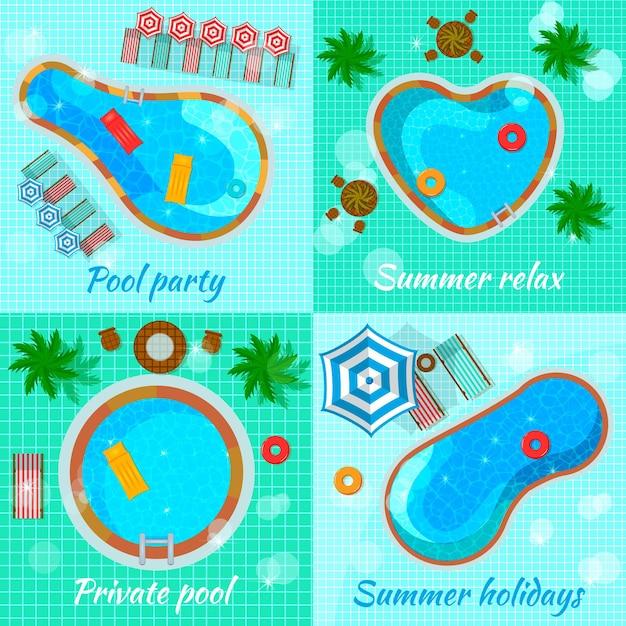 Piscinas con accesorios para varios destinos vista superior concepto plano aislado vector gratuito