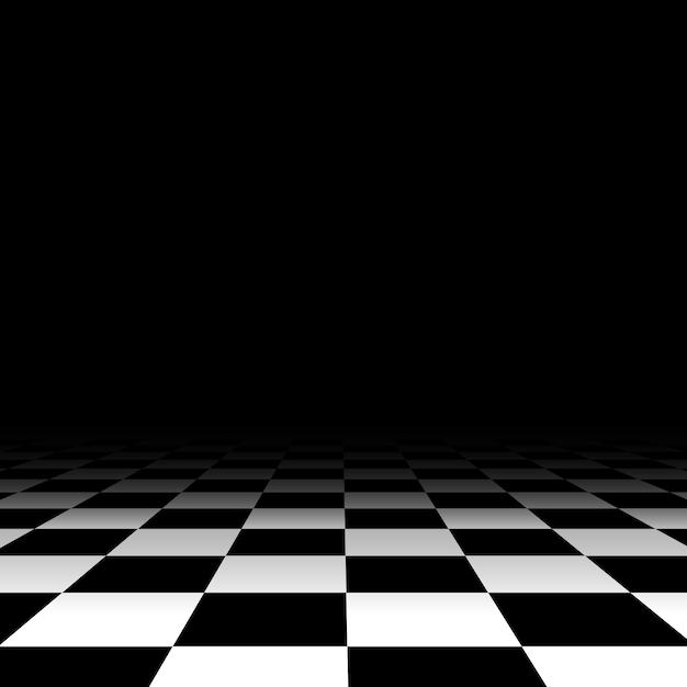 Piso de ajedrez blanco y negro Vector Premium