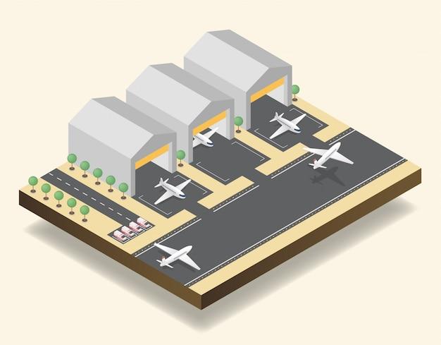 Pista del aeropuerto, aeródromo isométrica ilustración vectorial Vector Premium