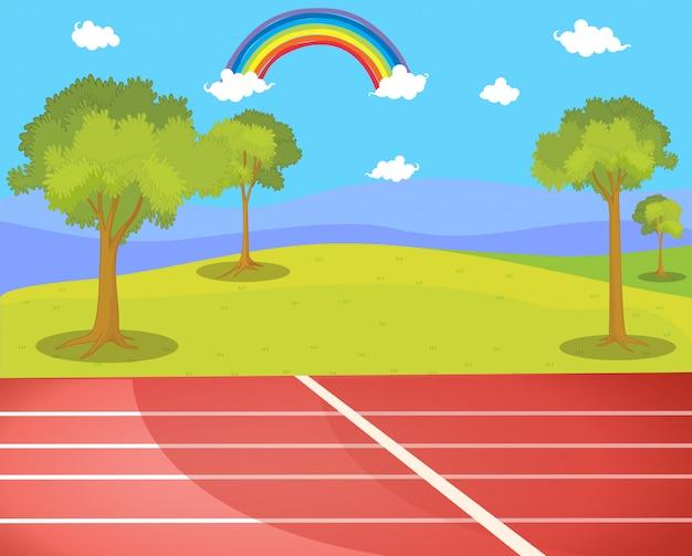 Pista de atletismo en la escena del parque vector gratuito