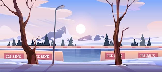 Pista de hielo vacía en el paisaje de montaña de invierno vector gratuito