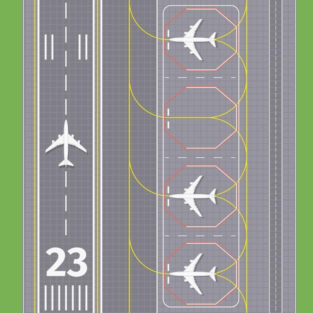 Pistas de aterrizaje del aeropuerto. transporte de avión, pista de aterrizaje, ilustración vectorial vector gratuito
