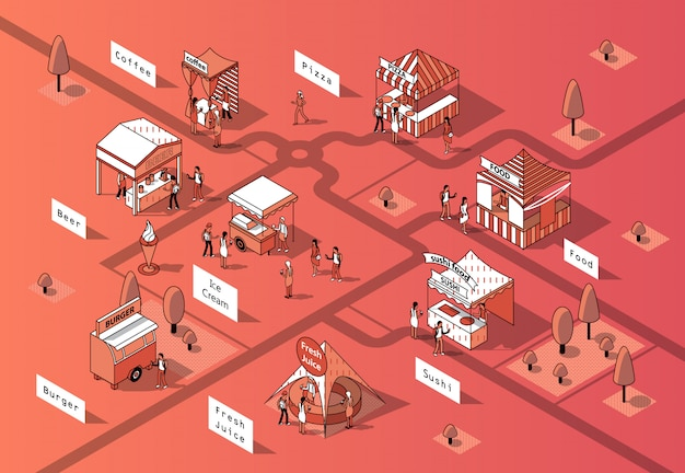 Pistas de comida isométrica 3d, mercado urbano. vector gratuito