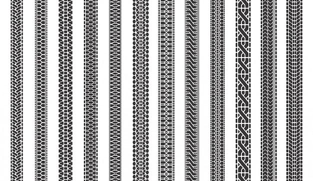 Pistas de neumáticos de automóviles. neumáticos de automóviles pistas de rodadura, huellas de neumáticos, marcas de neumáticos de vehículos símbolos conjunto de ilustración. patrón de camión de automóvil, huella de huella Vector Premium