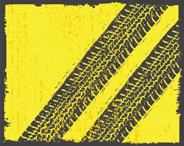Pistas de neumáticos en estilo grunge. Vector Premium
