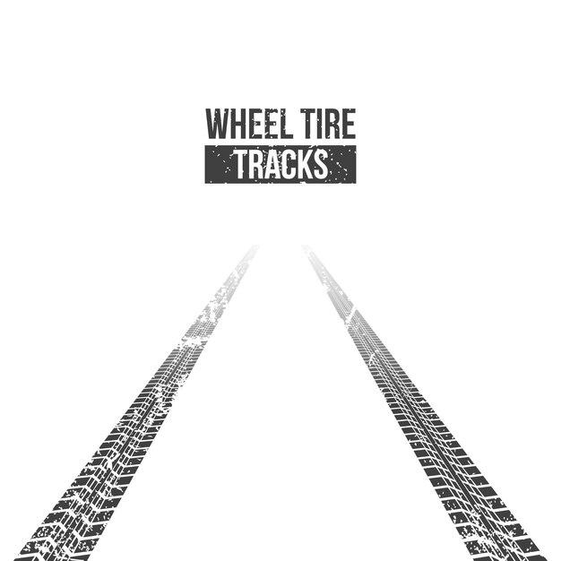 Pistas de neumáticos de ruedas. sinuoso rastro. Vector Premium