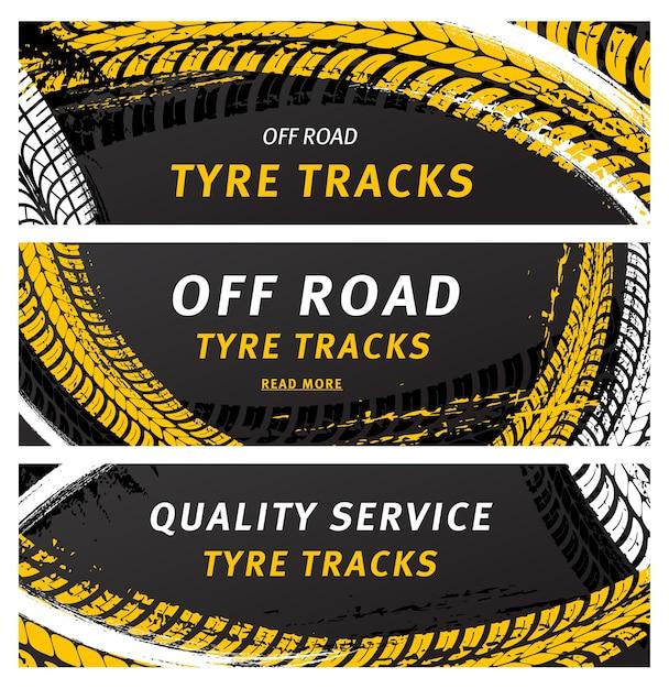 Las pistas de neumáticos todoterreno son huellas de neumáticos de grunge negro para servicio de automóviles. Vector Premium
