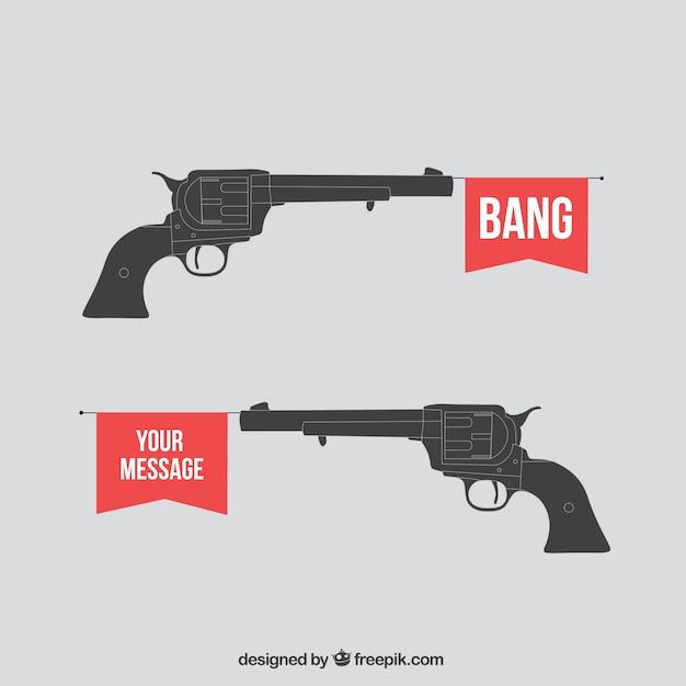 Pistola de juguete dispara una bandera Vector Premium