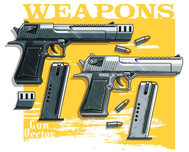 Pistola de pistola detallada con clip de munición. Vector Premium