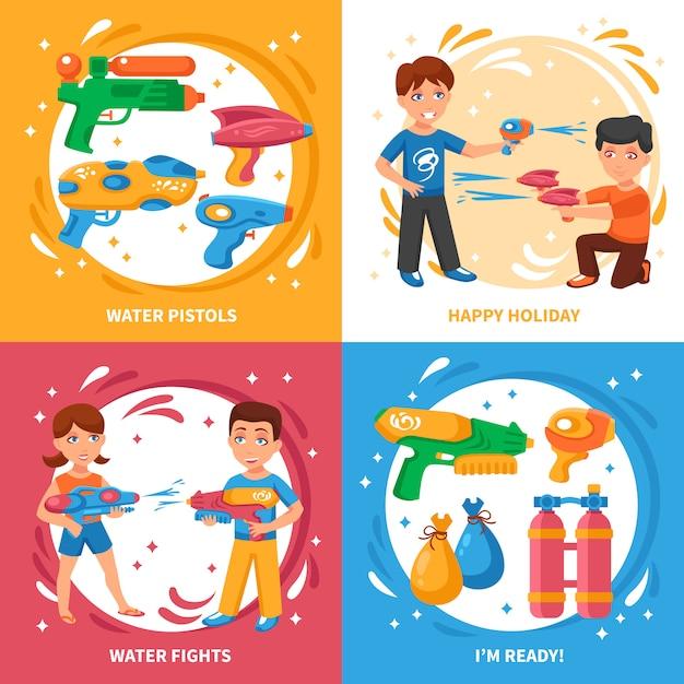 Pistolas de agua elementos y niños. vector gratuito