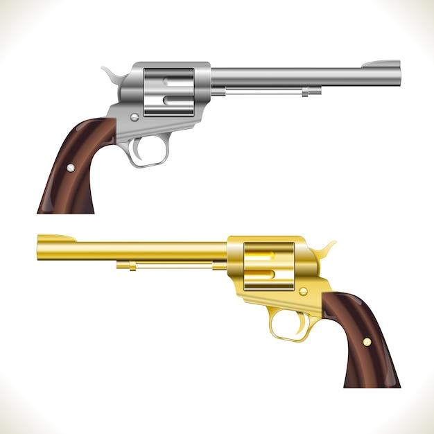 Pistolas revólver de plata y oro aisladas vector gratuito