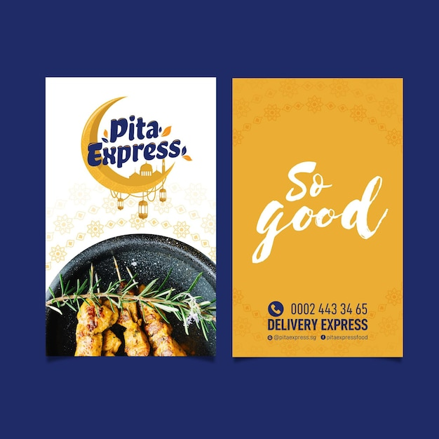 Pita express restaurant tan buena tarjeta de presentación vector gratuito