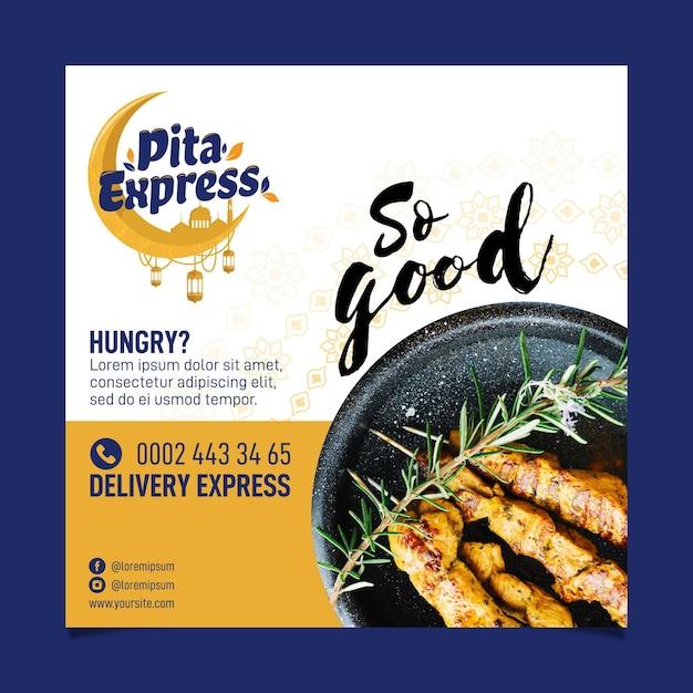 Pita express restaurant tan bueno flyer cuadrado vector gratuito